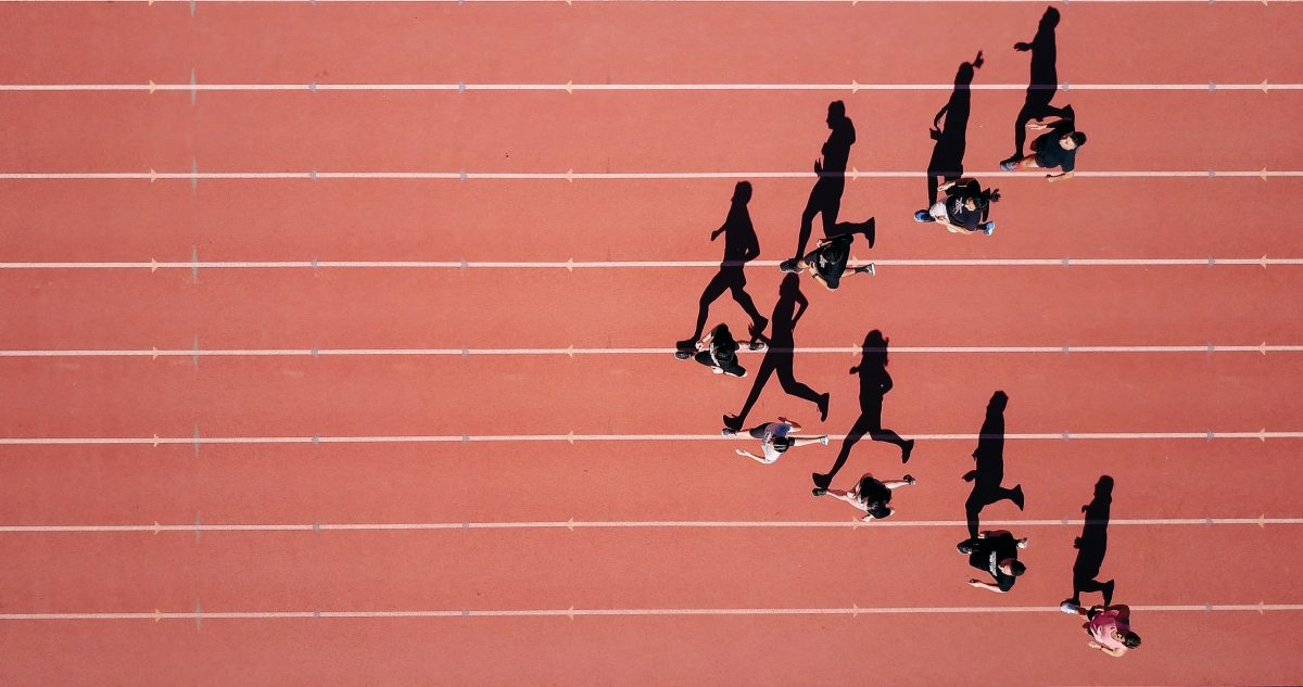 A group of runners on a track