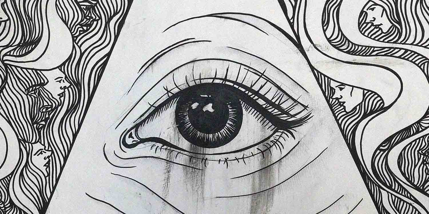 black and white illustrated eye with illustrated hair down the sides